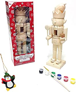 Large Elf King Paint It Yourself Traditional Decorative Holiday Season Wooden Christmas Nutcracker Craft & Tree Ornament