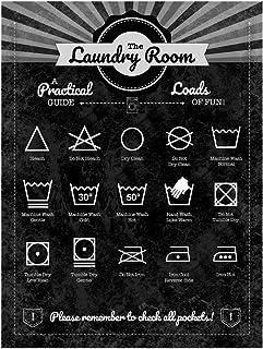 The Laundry Room Plaque en métal Guide pour l'entretien du tissu Instructions pour la décoration de la maison et des affaires