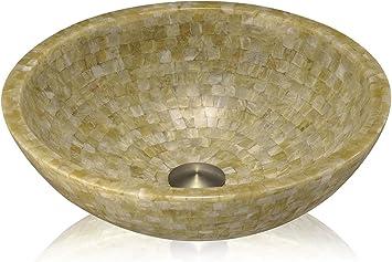 Lenova Sv 14 Stone Vessel Round Bowl Bathroom Sink Honey Onyx Mosaic Amazon Com