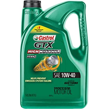 Castrol 03111C GTX High Mileage 10W-40 Synthetic Blend Motor Oil, 5 Quart