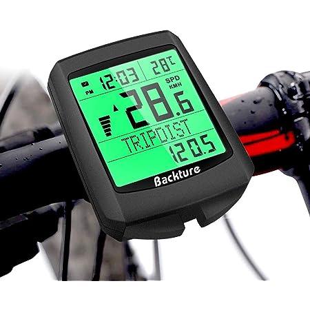 BACKTURE Cuentakilómetros para Bicicleta, 5 Idiomas Impermeable Computadora de Bicicleta, Velocímetro inalámbrico Bicicleta con Pantalla LCD de ...
