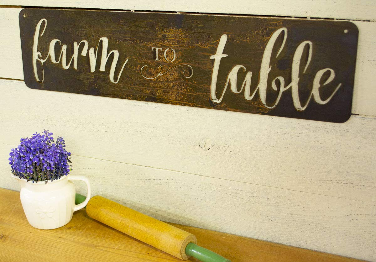 Farm Max 73% OFF to Table Metal Sign Kitchen Spring new work Farmhouse Country Livi Decor