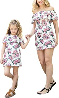 gllive Mommy and Me Matching Off Shoulder Floral Mini Dress Sleeveless Ruffles Princess Sundress Family Outfits Clothes