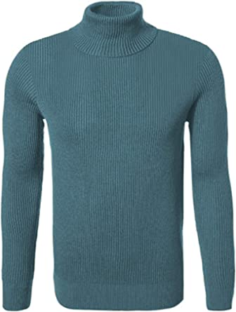 Hann Brooks Mens Warm Thick Cotton Regular Fit Roll Polo Turtle Neck Ribbed Textured Jumper Pullover Top