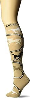 Ariat Women`s Horse Scroll Over The Calf Novelty Sock, Brown, One Size