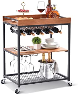 TOOLF Wine Bar Cart, Solid Acacia Wood Home Bar Serving Carts on Wheels with Wine Rack/Glass Holder, 3 Tiers Kitchen Storage Cart Metal Trolley Industrial Brown 34.7H x 25.6L x 16.1W inches