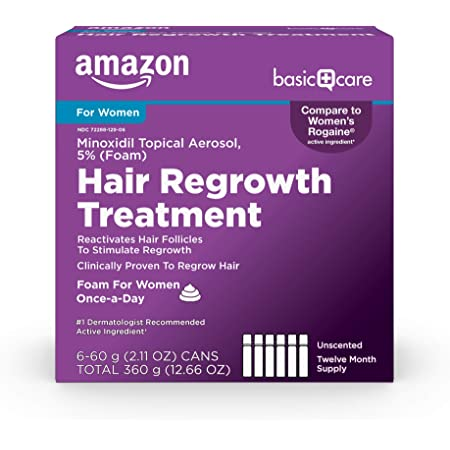 Amazon Basic Care Hair Regrowth Treatment For Women, Minoxidil Topical Aerosol, 5% (Foam), 12.66 Ounces