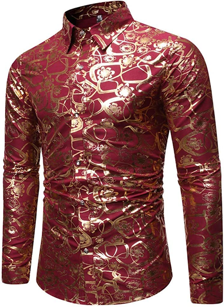 aihihe Mens T Shirt Long Sleeve Slim Fit Button Down Dress Shirts Paisley Luxury Shirt Tops for Party/Wedding/Shows