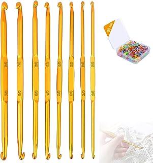 Nothers GZjiyu Lot de 8 aiguilles à crochet double extrémité + 50 marqueurs de mailles pour bonnet tricoté, pulls et autre...