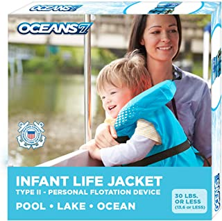 Oceans7 Us Coast Guard Approved, Infant Life Jacket, Type II Vest, PFD, Personal Flotation Device, Flex-Form Chest, Blue/White