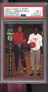 1992 Classic Four Sport 4 The Kind And His Heir Kareem Abdul-Jabbar Shaquille O'Neal ROOKIE RC AUTO SIGNED Autograph Autographed Card PSA 7 PSA/DNA 9 Basketball NBA