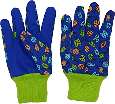 HANDLANDY Kids Gardening Gloves for Age 5-6, Age 7-8, 2 Pairs Cotton Garden Working Gloves for Girls Boys, Dot & Butterfly &