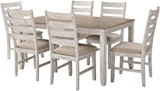 Wood & Style Skempton Dining Room Table and Chairs (Set of 7) Two-Tone Decor Comfy Living Furniture Deluxe Premium Collection