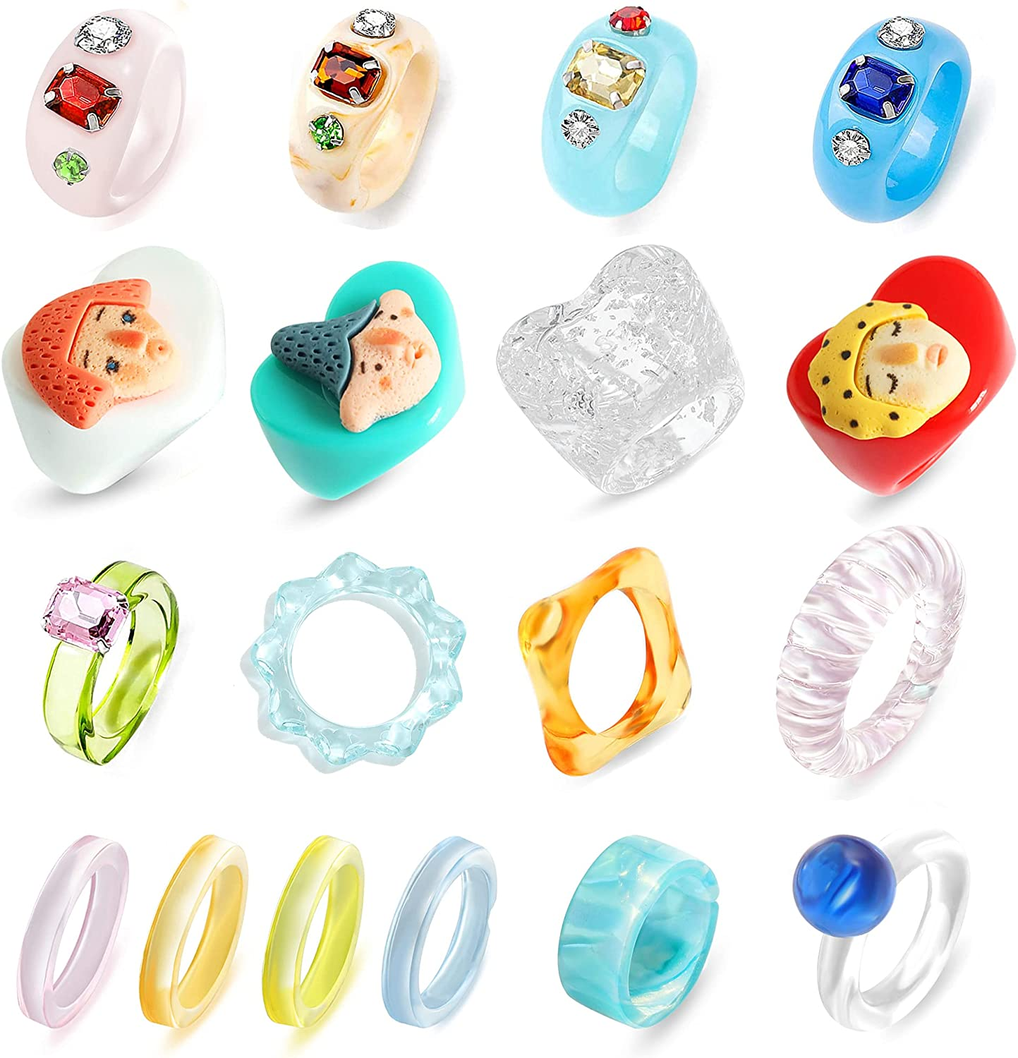 Dvacaman 16/18/20Pcs Y2K Style Retro Chunky Acrylic Resin Rings Evil Eye Ring Cute Stackable Transparent Plastic Silicone Resin Band Ring Statement Jewelry Colorful Unique Square Gem Ring for Women Teen Girls
