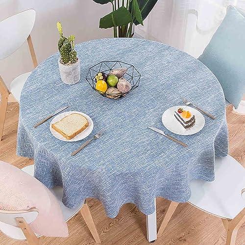 Hongsebuyi Tischdecke Hellblau Runde Tischdecke Aus Leinen Pastorale Tischdecke Geeignet Für Picknicks Zuhause Dekorierte Couchtischdecke (Größe   Diameter 260cm)