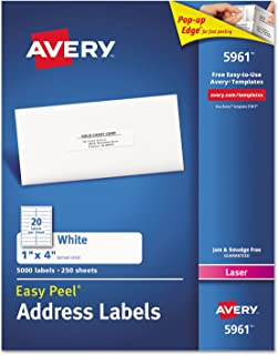 Avery 5161 Laser Labels, Mailing,1-Inch x4-Inch, 2000/BX, White