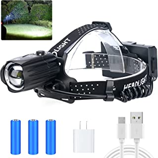 LED Rechargeable Headlamp for Adults,90000 Lumens Outdoor Led Head Lamps Flashlights, Headlights with Batteries Included, ...