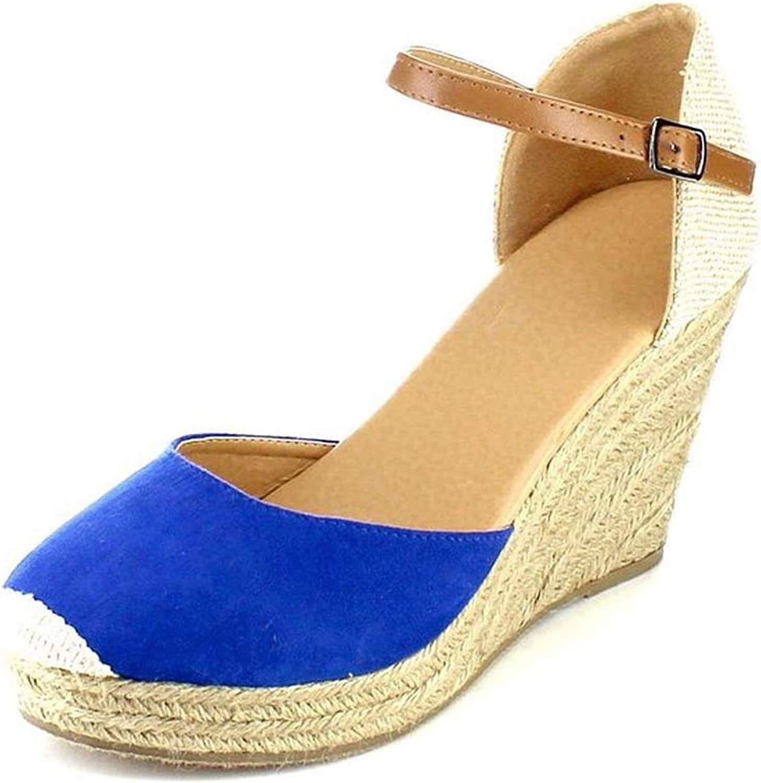 Platform Wedges Sandals 2019 Cover Heel Flock Gladiator Buckle Strap Woman Sandalias