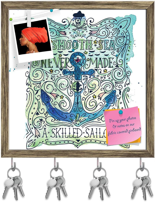 Artzfolio Anchor & Lettering Key Holder Hooks   Notice Pin Board   Antique golden Frame 16 X 16.5Inch