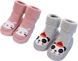Gavena, Calcetines Antideslizantes para Bebé Niños Niñas Zapatos Cuero Bebe de Primer Paso Invierno 3-24 Meses Gris Azul Rosa