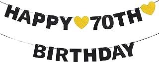 AERZETIX Happy 70th Birthday Black Glitter Bunting Banner for 70 Birthday Seventy Years Old Bday Party Decoration Gift Sign