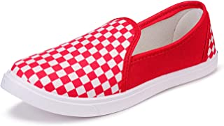 2ROW Women's Checkered Red Loafers