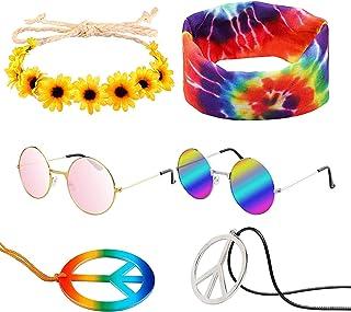 WATINC 7Pcs Hippie Costume Set Round Hippie Sunglasses Sunflower Headband Peace Sign Necklace Rainbow Tie Dye Headband 60s...