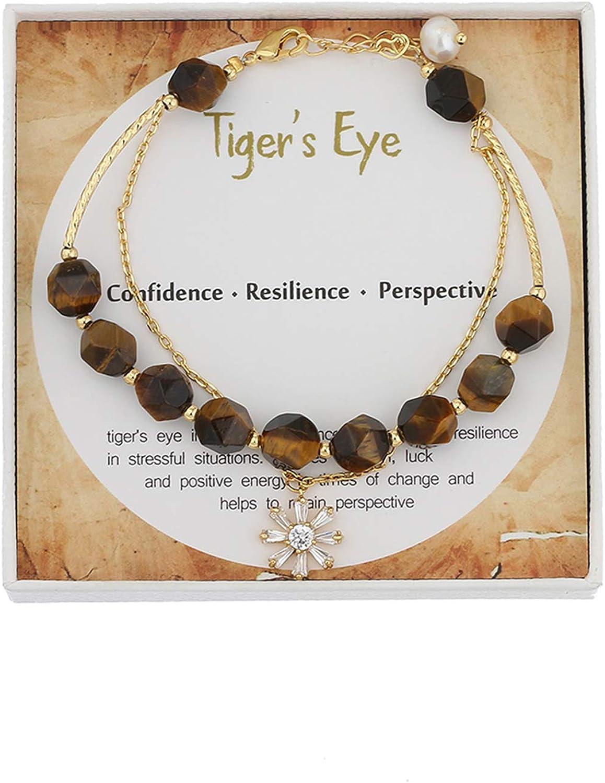IUNIQUEEN Tiegr Eye Stone Bracelet 8mm Beads Natural Energy Heal