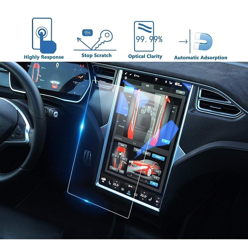 申し込むオーナー直径SODIAL センターコントロール コンタクトスクリーンカーナビゲーション強化ガラススクリーンプロテクター、耐スクラッチ性、耐衝撃性 モデルX/S用スクリーンカバー 17インチ