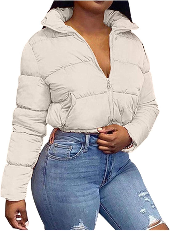 Womens Down Jackets Coat Stand Lapel Collar Pocket Zipper Crop T