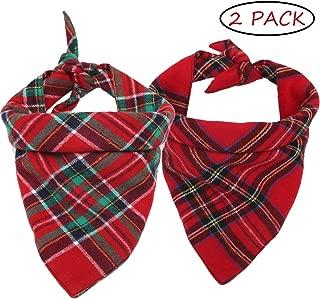 H-Shero 2 Pack Christmas Pet Dog Bandanas Triangle Bibs Scarf, Double-Cotton Plaid Printing Kerchief Set for Medium Size Dogs