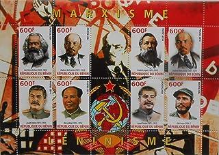 ベナン『共産主義』(マルクス/エンゲルス/レーニン/スターリン/毛沢東/カストロ) 8枚シート