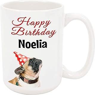 Happy Birthday Noelia - 15 Ounce Coffee or Tea Mug, White Ceramic, Unique Birthday Present Gift Idea