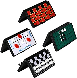 Point Games Juego de Juego de Tablero de Viaje Paquete de 4 Juegos magnéticos clásicos para niños Incluye tableros y Piezas Individuales para Damas, ajedrez, Punta de Tic-TAC
