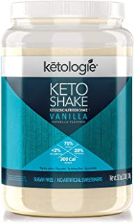 Ketologie Collagen Keto Shake (Vanilla) - with Coconut Oil, Grass Fed Hydrolyzed Collagen Peptides Type I & III, Low Carb High Fat, Lactose Free, Gluten Free, Soy Free, 2.38lbs