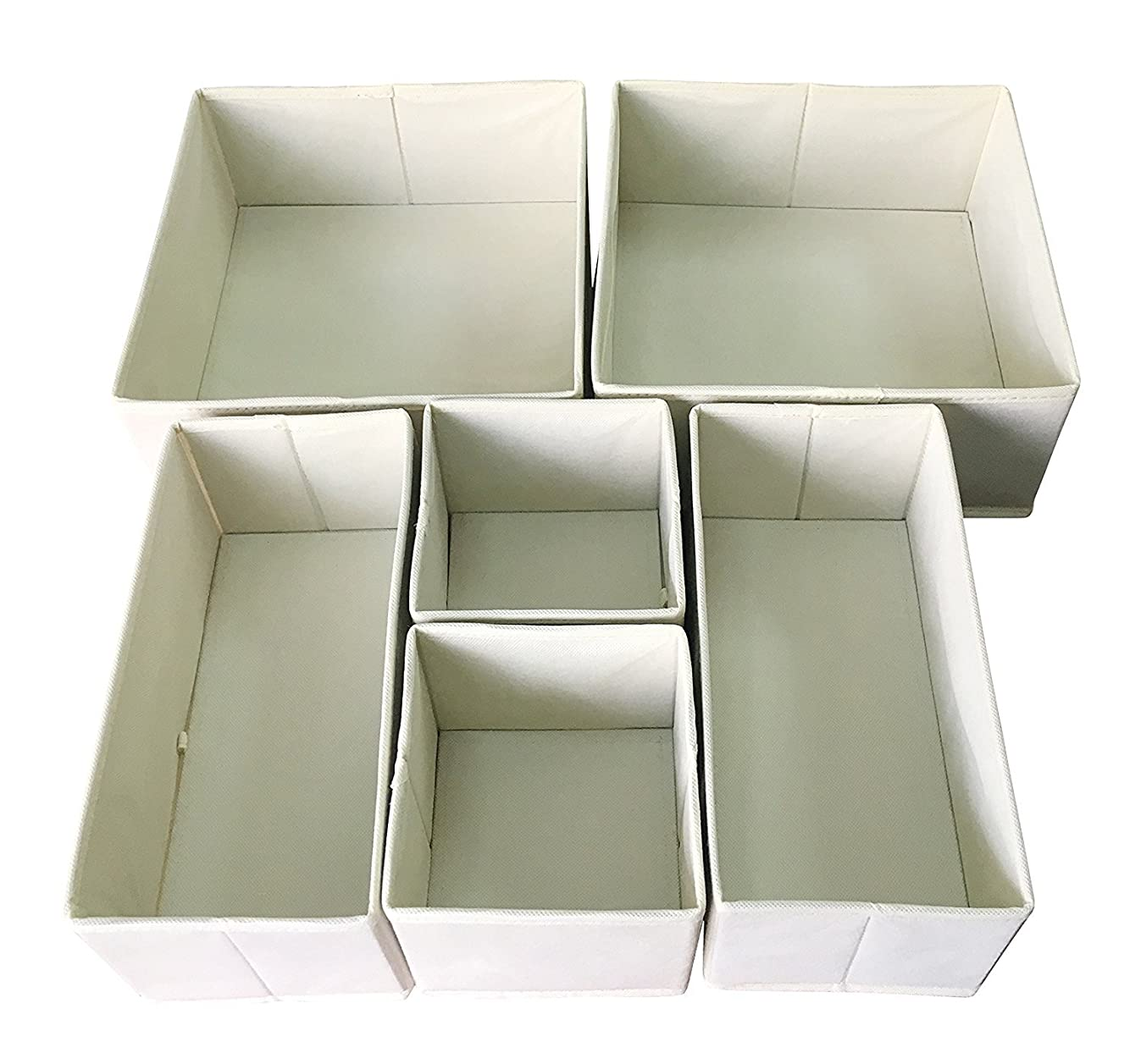 Sodynee FBA_SCD6SBE Foldable Cloth Storage Box Closet Dresser Organizer Cube Basket Bins Containers Divider with Drawers for Underwear, Bras, Socks, Ties, Scarves, 6 Pack, Beige