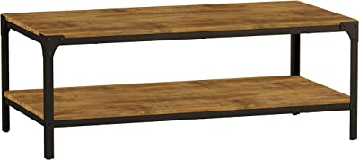 Lavish Home Wood Coffee Table- Bronze Metal Frame & 2 Shelves, Brown