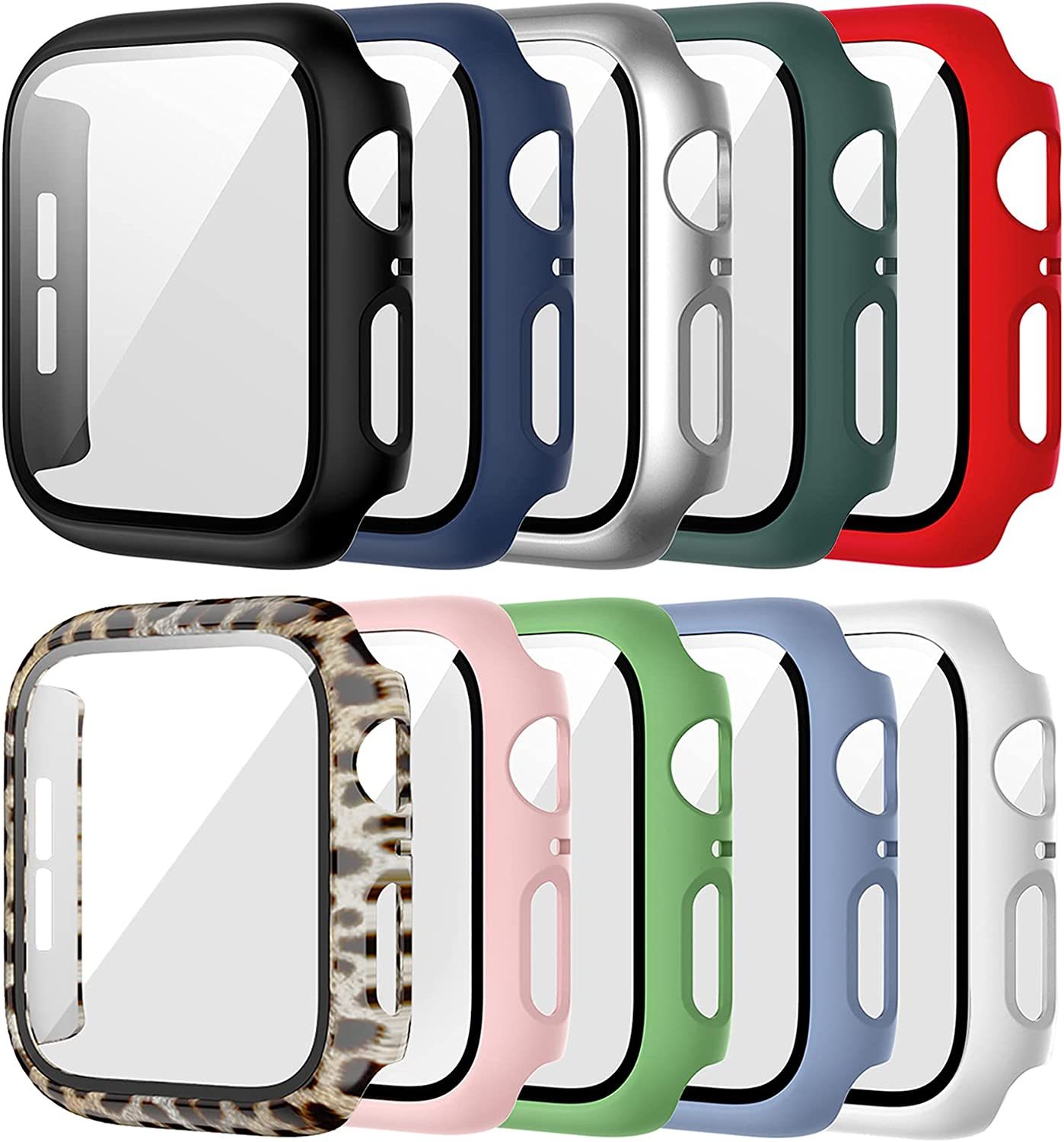 10 Pack Case for Apple Watch 44mm Series 6 5 4 SE with Tempered Glass Screen Protector, Haojavo Full Hard Ultra-Thin Scratch Resistant Bumper Leopard Protective Cover for iWatch Accessories