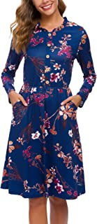 Fall Women's Floral Long Sleeve Buttons Pockets Midi Work Casual Dress