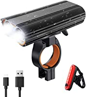 Gluckluz Bicycle Light Set Rechargeable Bike Front Rear Light Waterproof LED Headlight Taillight for Mountain Bicycle...
