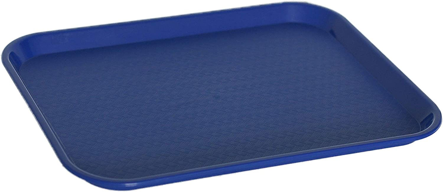 Caspian Plastic 1418 inch Fast Food Serving Tray Rectangular Cafeteria Non-Slip Tray, Set of 12 (Blue)