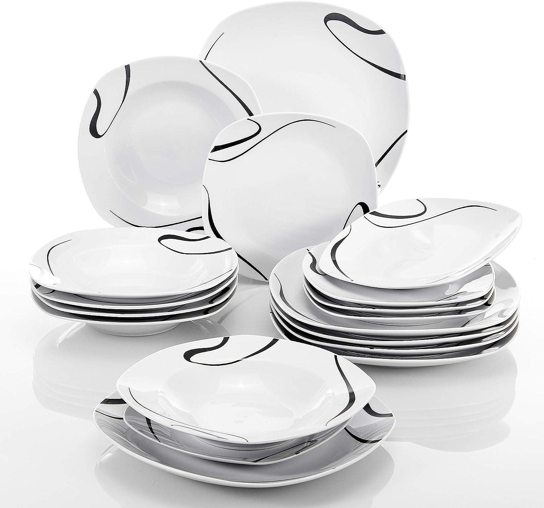 VEWEET Ceramic Luxury goods Square depot Dinnerware Set Dinner Porcelain Piece 18