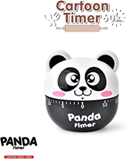 STAR-TOP Kitchen Timer Cute Cartoon Mechanical Timer Reminder Alarm Clock,calculagraph-60 Minutes,2.7inch (Cartoon Panda-black)