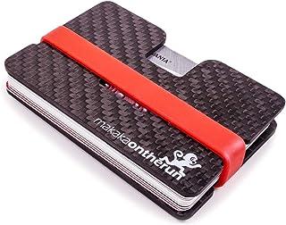 Tarjetero minimalista MOTR™ de 5mm con compartimiento (auténtica fibra de carbono). Bloqueo NFC y RFID. (Cartera minimalis...