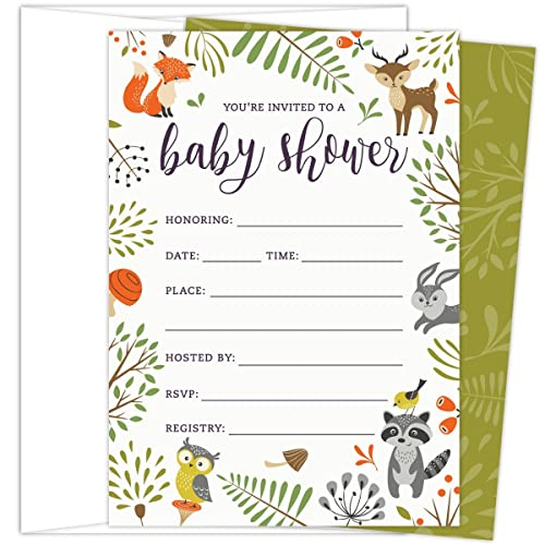 9a0193d8aac Woodland Baby Shower Invitations with Owl and Forest Animals. Set of 25  Fill-in