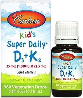 Carlson - Kid's Super Daily D3+K2, 25 mcg (1,000 IU) D3 & 22.5 mcg K2, Vitamin D Drops with Vitamin K2, Liquid Vitamins, 1...