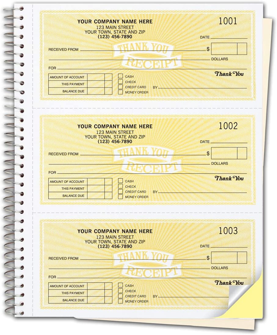CheckSimple Direct sale of Los Angeles Mall manufacturer Customized Cash Receipt Books 3-Per-Page w 2-Part