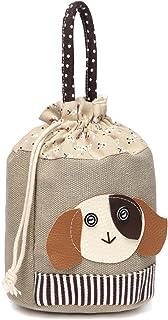 Cute Leather Animal Canvas Drawstring Totes Handbag Storage Organizer Pouch