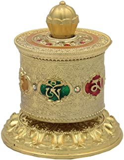 DharmaObjects Tibetan Prayer Wheel Premium Quality Solid Brass Heavy Duty Table Top Om Mani Padme Hum (Medium Gold)