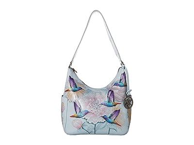 Anuschka Handbags Classic Hobo With Side Pockets 382 (Rainbow Birds) Hobo Handbags